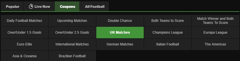 Betway Football Special Betting and Coupons