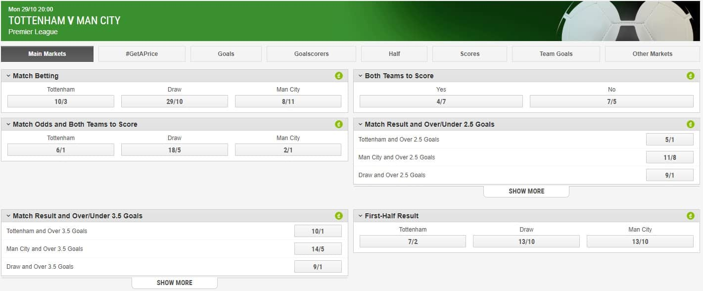 Ladbrokes Football In Play Betting Interface and Odds