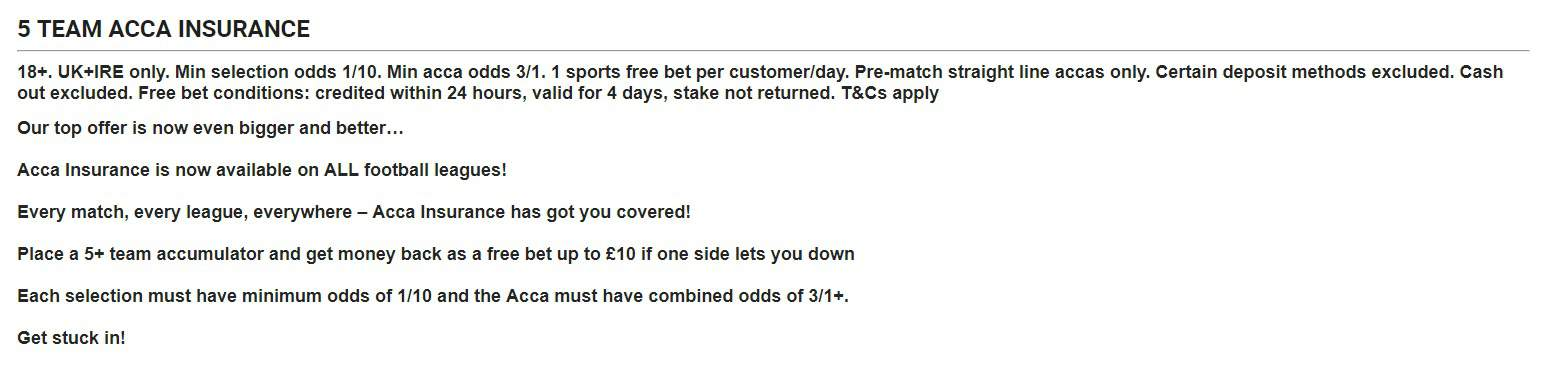 Ladbrokes Football Promotions 5 Team Acca Insurance Details