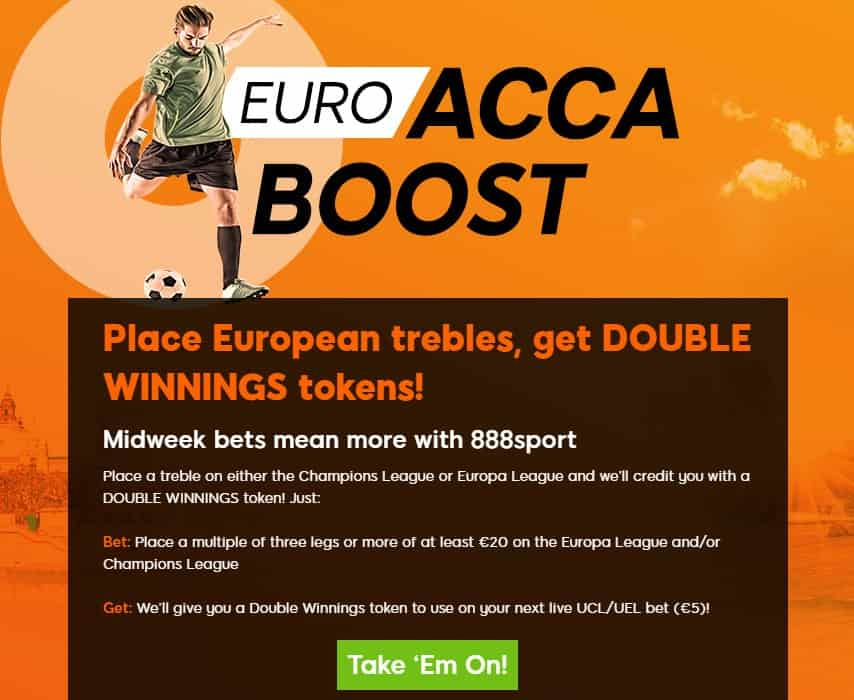 888sport Acca Attack promotions during Champions and Europa League