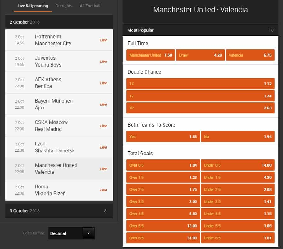 888sport Online Betting odds match inteface