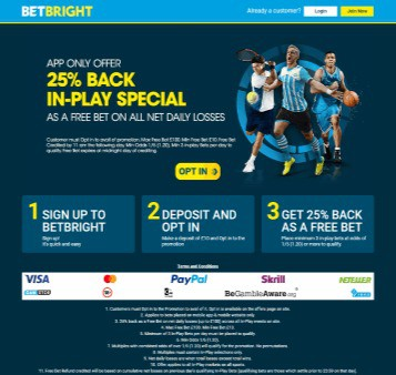 Betbright Football Betting Welcome Offer 25 Back