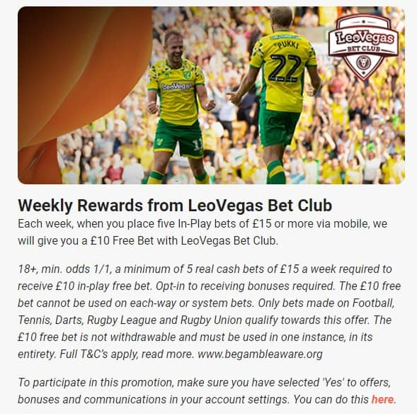 LeoVegas Bet Club promotion details for football bettors