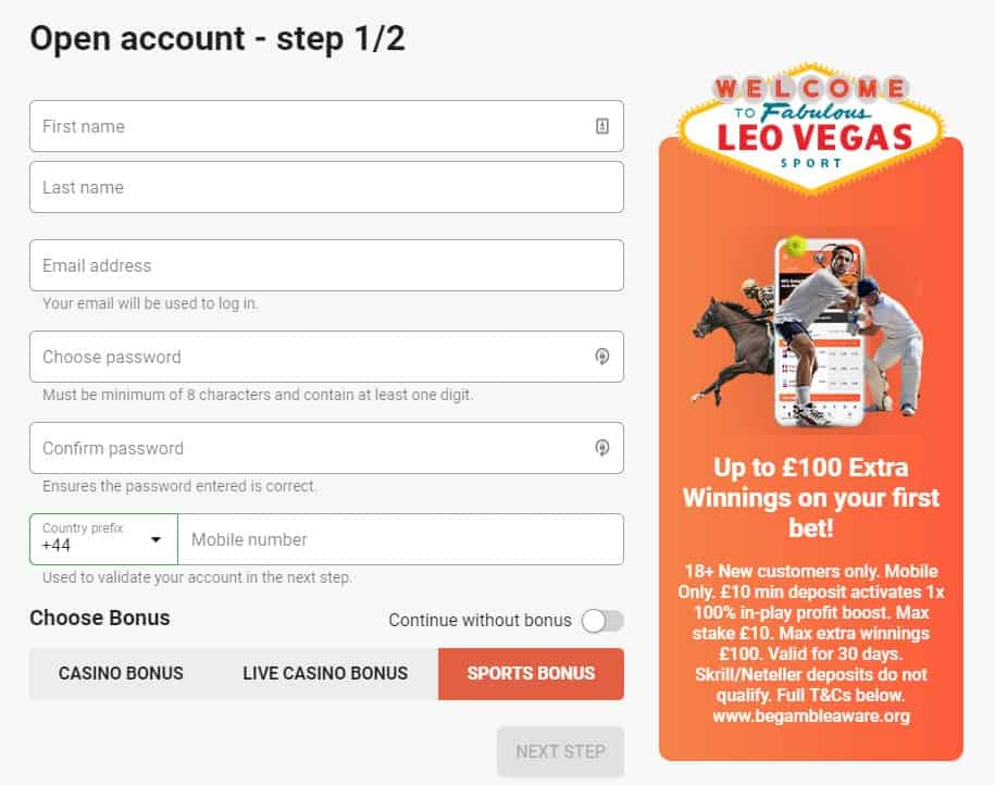 LeoVegas Football opening a new account