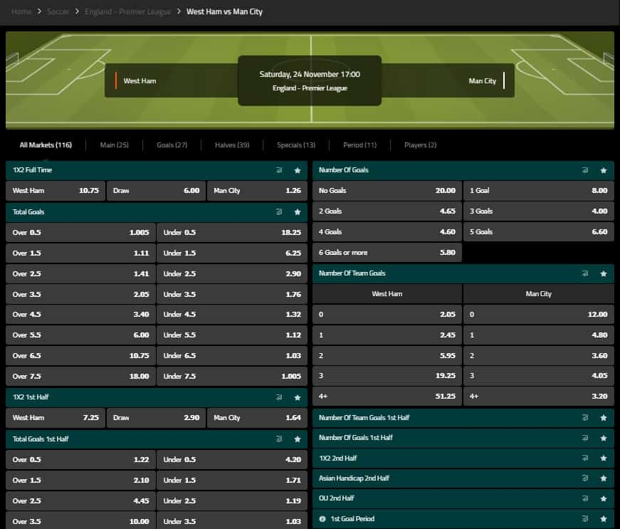 SportNation Football Betting Interface and Odds