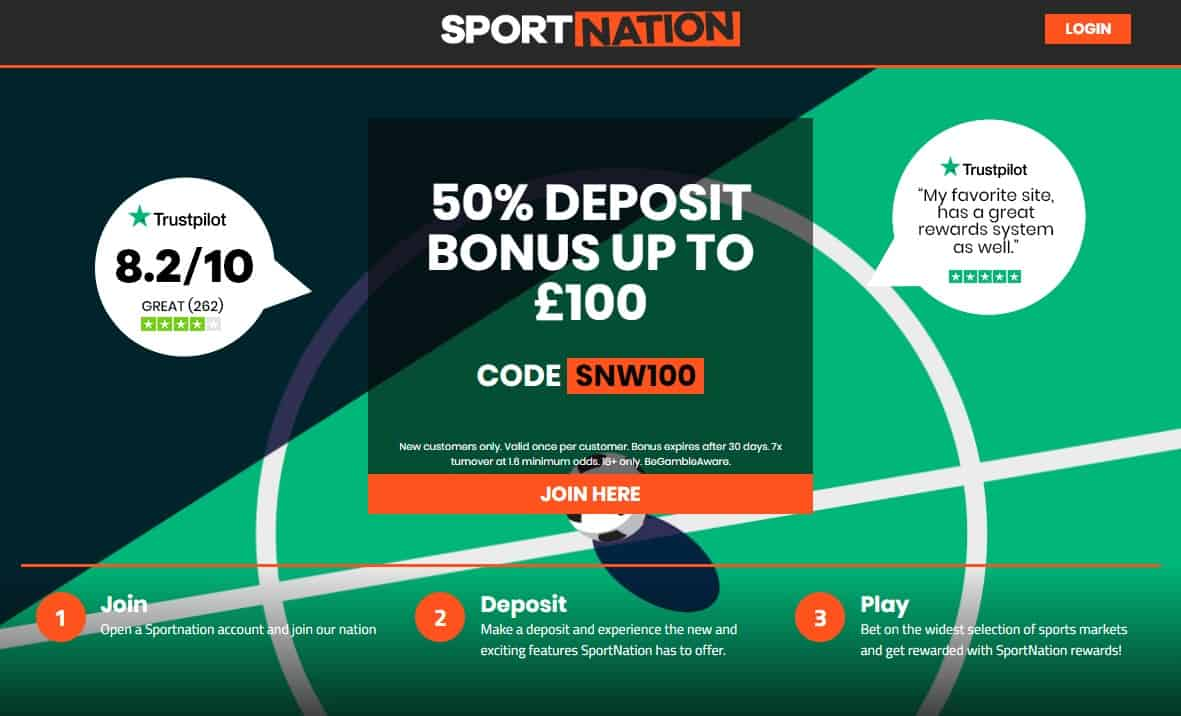 SportNation Sports Welcome Offer 50 Deposit Bonus Up To £100