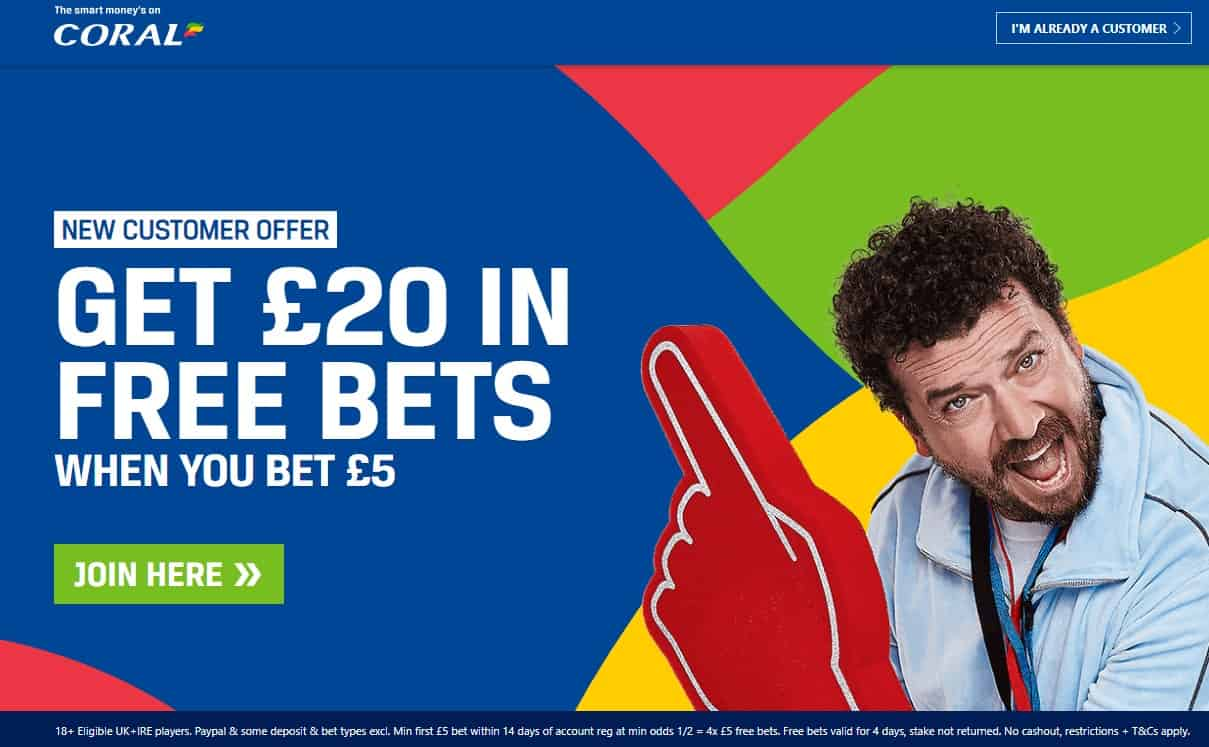 Coral Sports Betting Welcome Offer Bet £5 Get £20 in Free Bets
