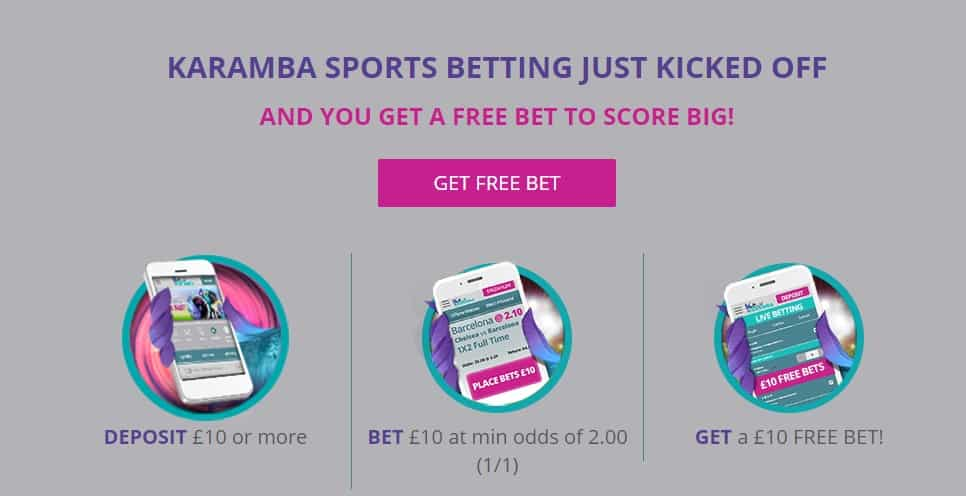 Karamba Sport Sign Up Offer - Welcome Offer £10 free bet