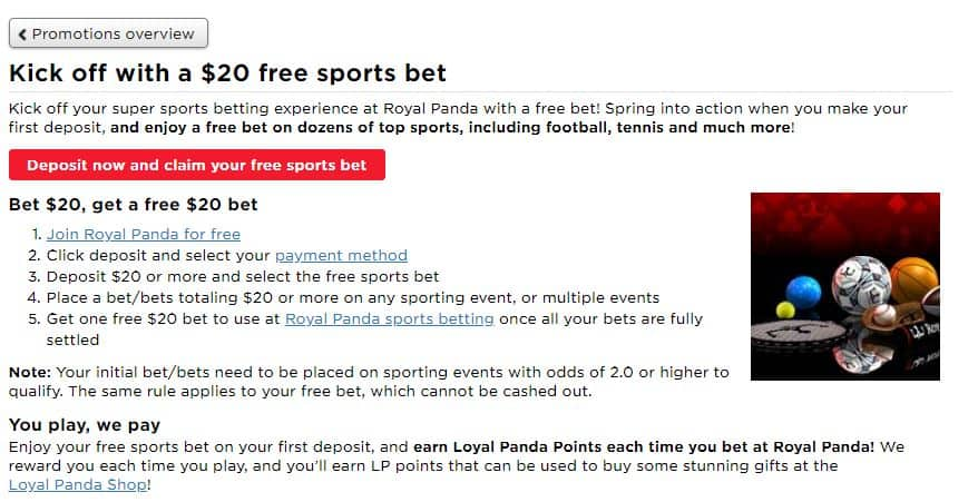 Royal Panda Sports Betting Welcome Offer $20 Free Bet