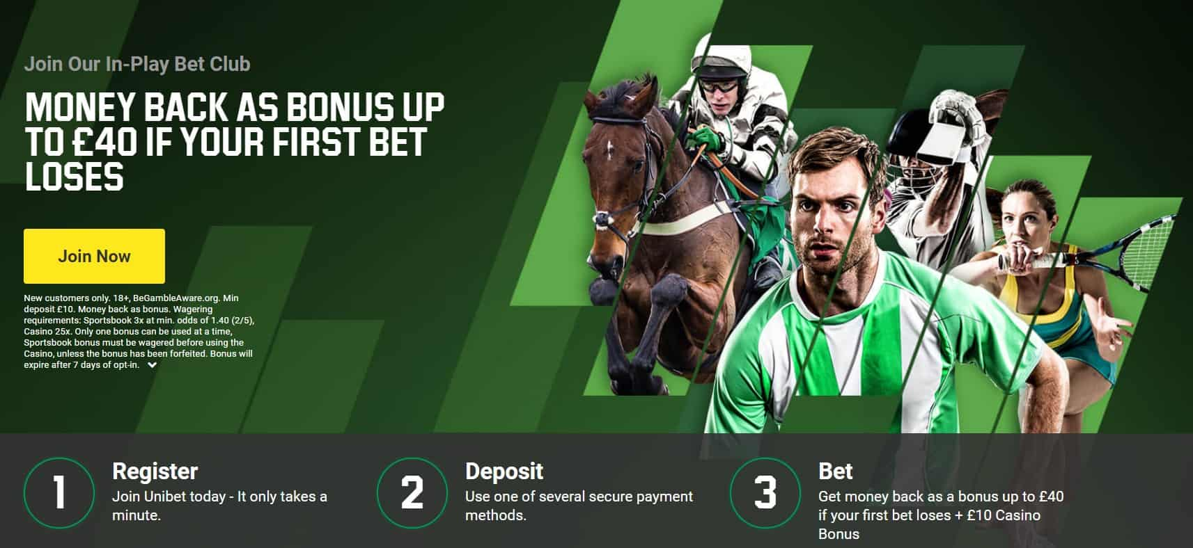 Unibet Sports Betting Welcome Offer Money Back Up to £40 First Bet Insurance
