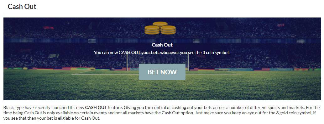 Blacktype Sportsbook Cash Out option