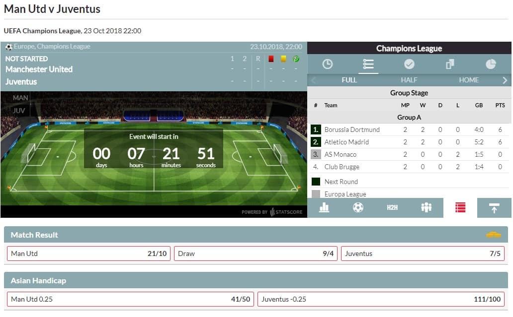 Blacktype football betting match interface with odds