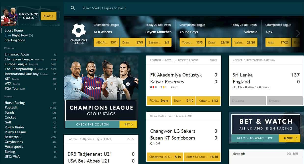 Grosvenor sports and football category page including other markets