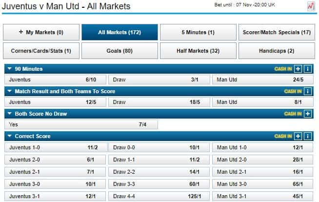 William Hill football interface and odds champions league game