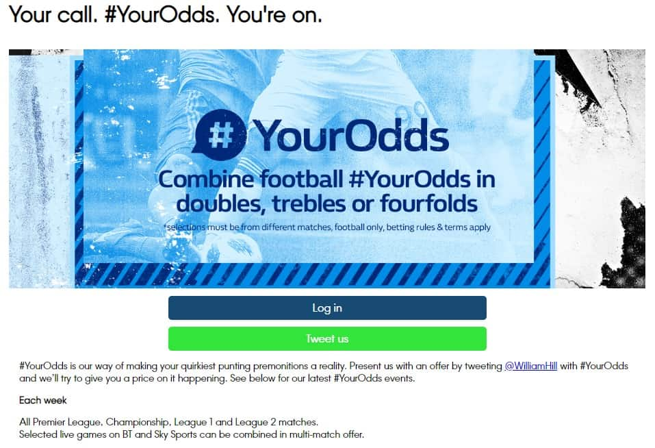 William Hill sports youodds promotion details