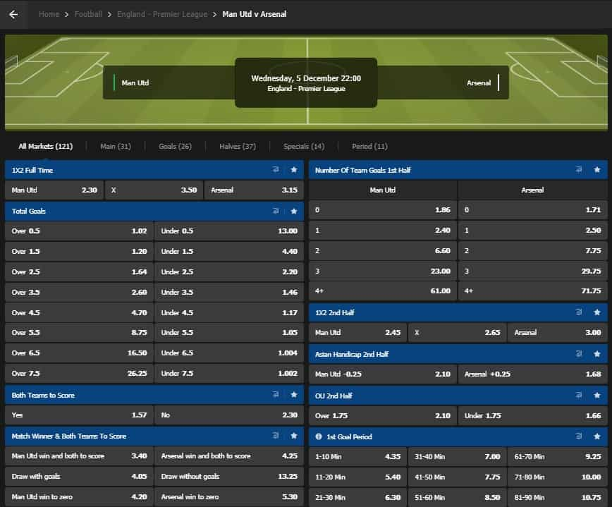 10Bet Football Betting Interface and Odds Arsenal vs United