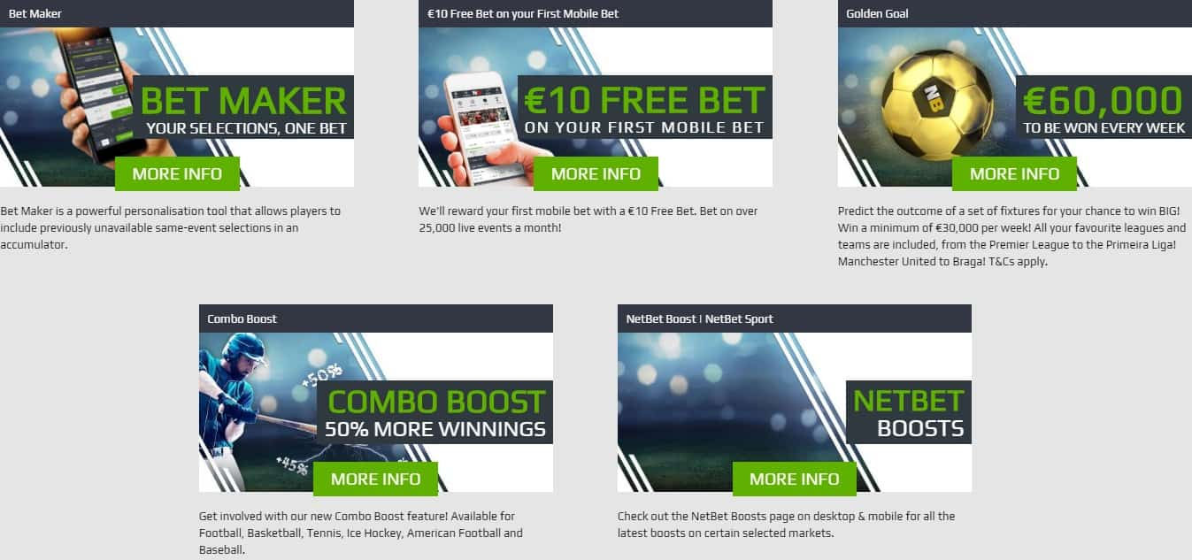 NetBet Online Football Betting Ongoing Promotion Section