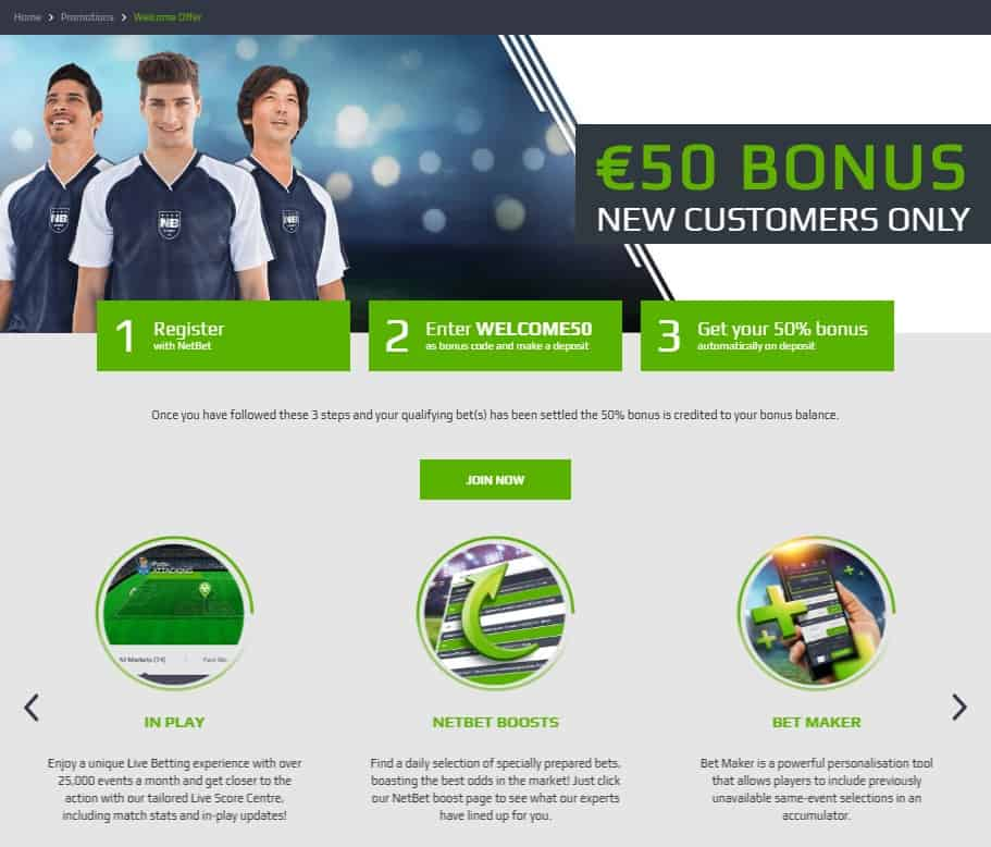 NetBet Football Welcome Offer £50