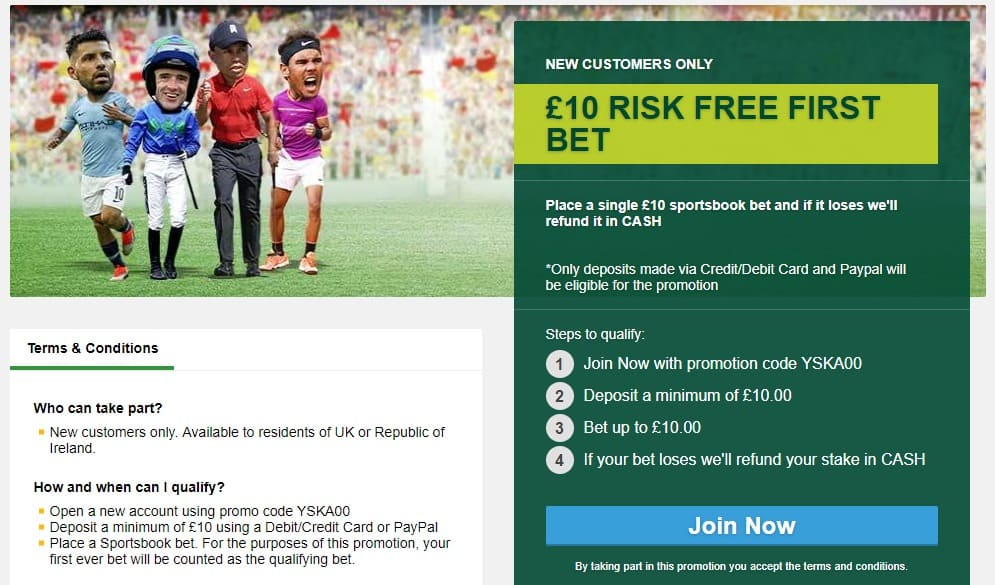 Paddy Power football and sports £10 welcome offer bonus