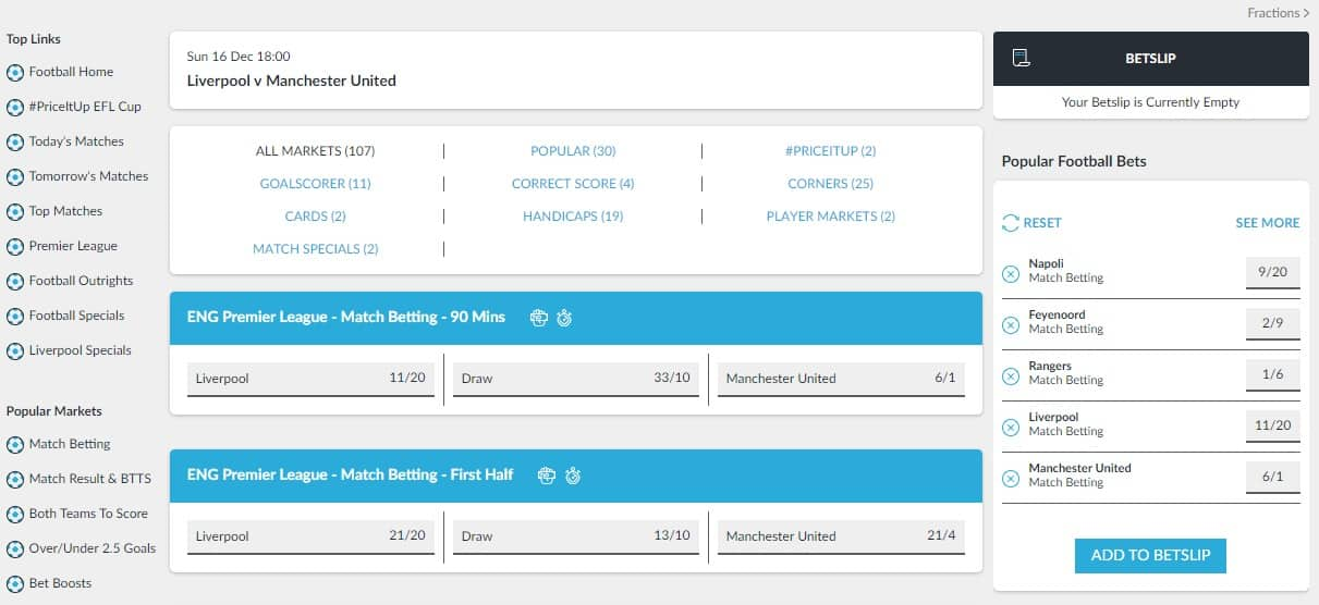 BetVictor Football Betting Interface and Odds Liverpool vs Manchester United