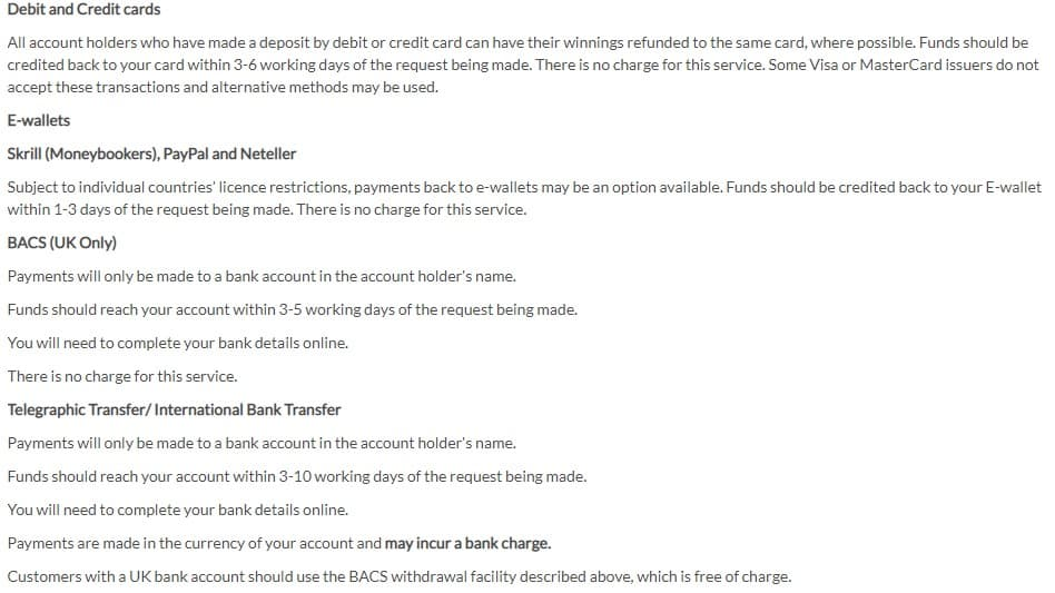 BetVictor Payments and Banking Options