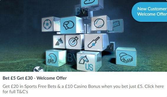BetVictor Welcome Offer Bet £5 Get £30