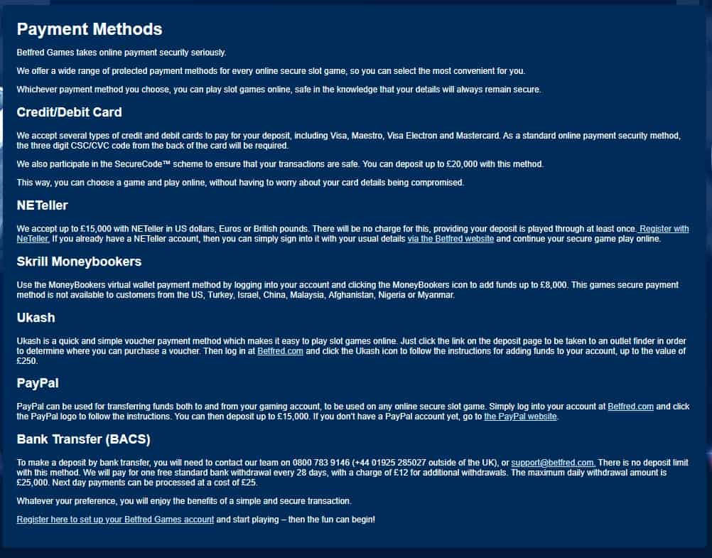Betfred Betting Payments Methods and Withdrawal Terms