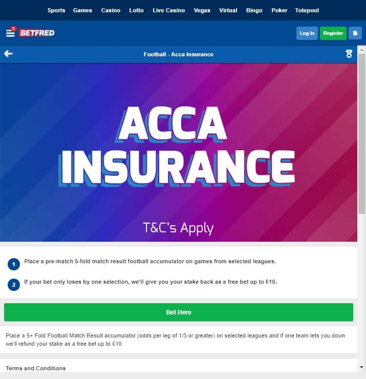 Betfred Football Acca Insurance offer