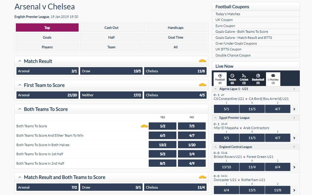 Toals Football Betting Interface and Odds Example