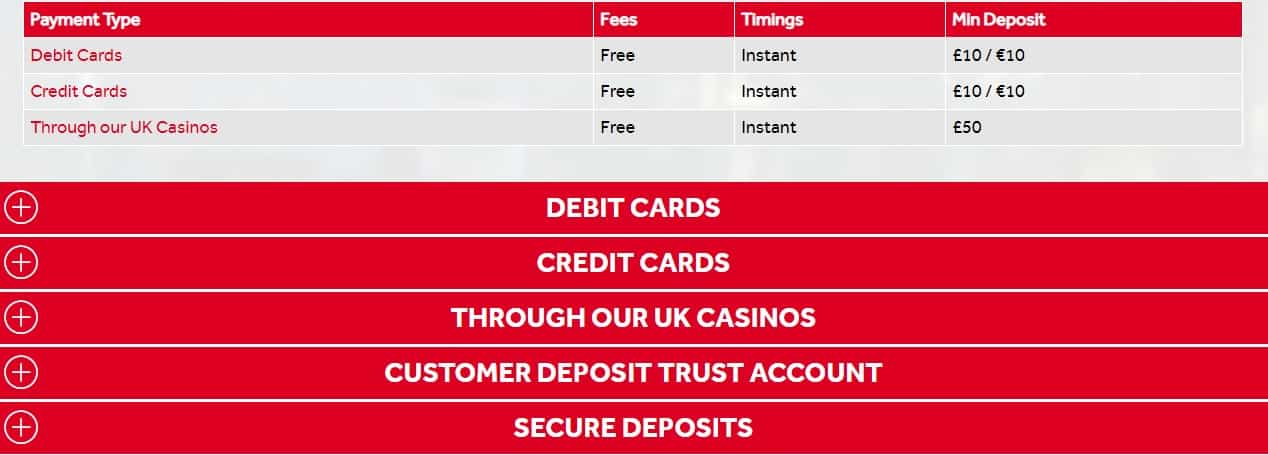 Payment Methods and Cash Out Terms Fees - Genting Bookamker