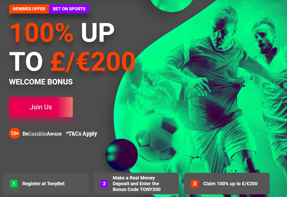 TonyBet Sports Betting Welcome Offer - £€200