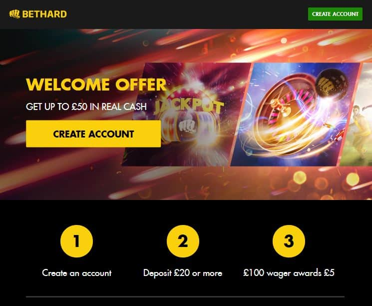 Bethard welcome offer - Get up to £50 in Real Cash