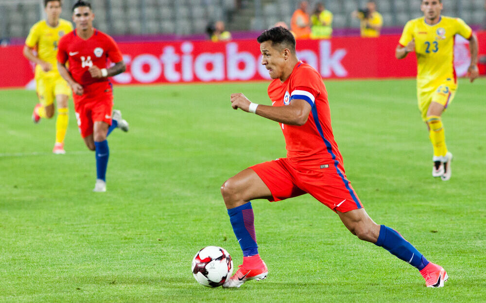 Chile's Alexis Sanchez in action during the Romania vs Chile friendly