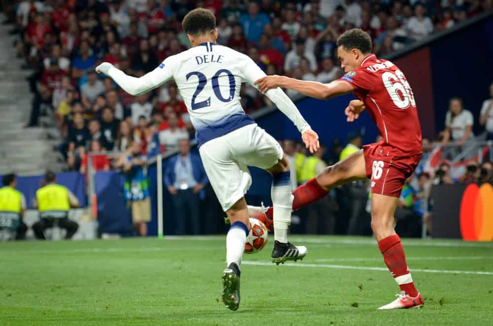 Dele Alli and Trent Alexander-Arnold during the UEFA Champions League 2019 final match between FC Liverpool vs Tottenham Hotspur, Spain