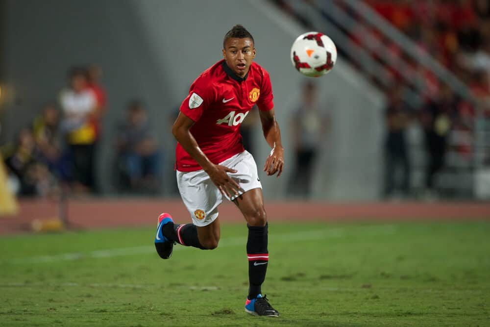 Manchester United in action during the friendly match between Singha All Star and Manchester United at Rajamangala Stadium on July 13, 2013 in Thailand.