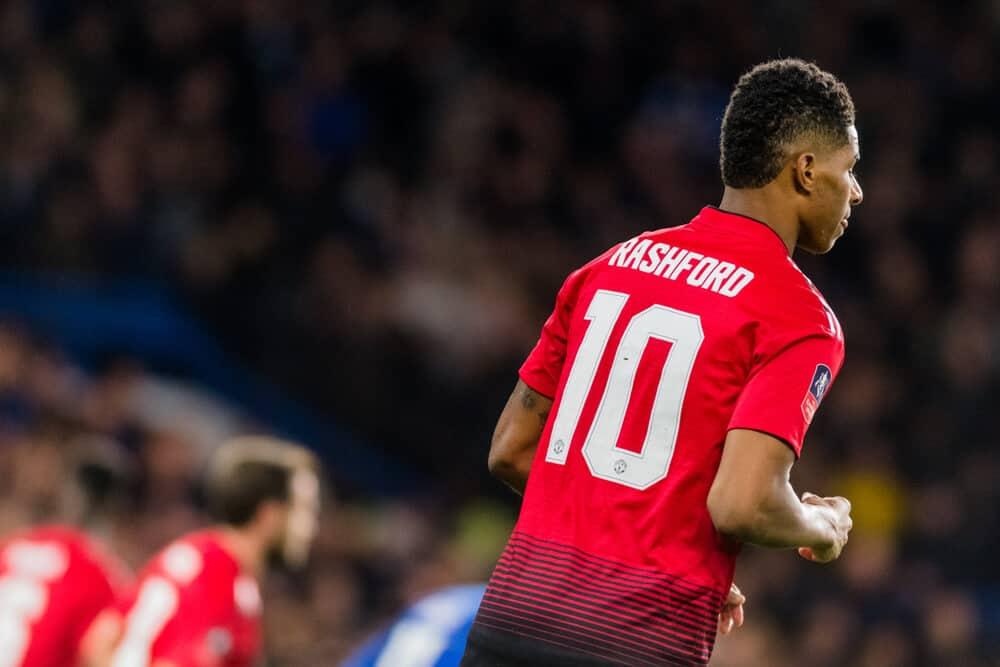 Marcus Rashford of Manchester United during the The FA Cup 5th round match between Chelsea and Manchester United at Stamford Bridge