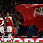 Pierre-Emerick Aubameyang and Alexandre Lacazette of Arsenal after scoring his sides third goal - Arsenal v Valencia, UEFA Europa League Semi Final - 1st Leg, Emirates Stadium, London 2nd May 2019