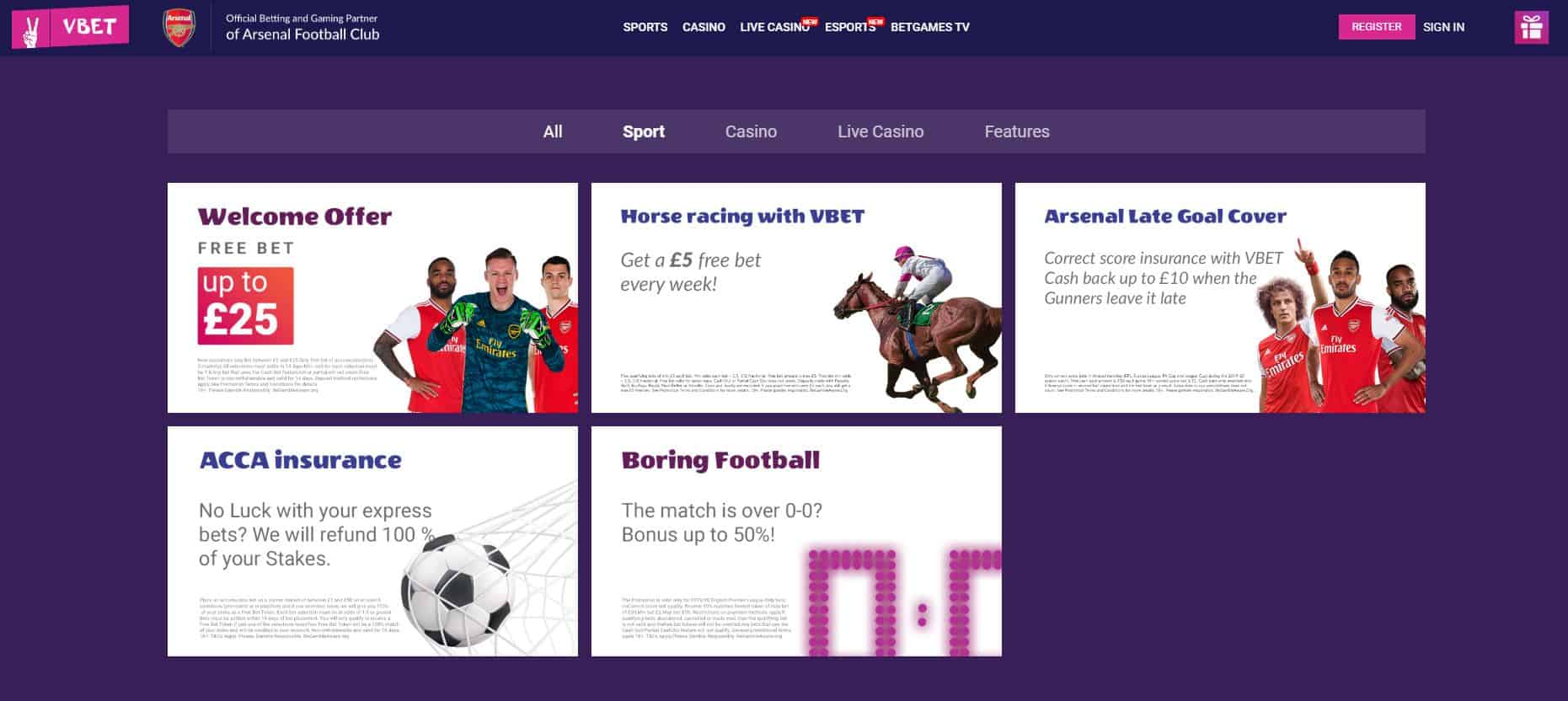VBET Promotions Section