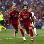 Mohamed Salah of Liverpool celebrates with Jordan Henderson after scoring the 1st goal - Tottenham Hotspur v Liverpool, UEFA Champions League Final, Wanda Metropolitano Stadium, Madrid
