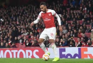 Pierre-Emerick Aubameyang of Arsenal pictured during the 201819 UEFA Europa League Group E game between Arsenal FC and Sporting CP at Emirates Stadium