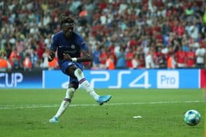 Tammy Abraham of Chelsea FC makes a shot from penalty spot and misses it. UEFA Super Cup Liverpool - Chelsea penalty shoot-out
