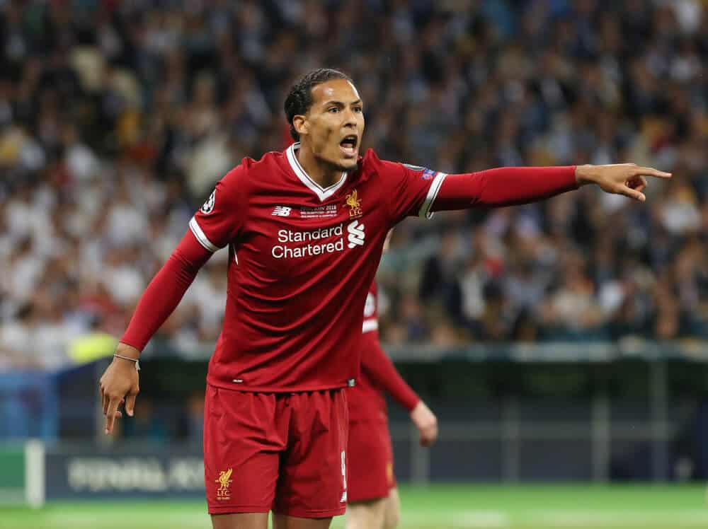 Virgil Van Dijk in action during the UEFA Champions League final match between Real Madrid vs Liverpool FC , at the NSC Olimpiyskiy stadium in Kiev, on 26 May 2018