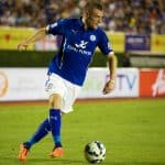 Jamie Vardy of Leicester City control the ball during the pre-season match between Leicester City and Everton at Supachalasai Stadium on July 27, 2014 in Bangkok (1)