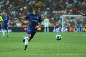 Christian Pulisic runs on fast speed and dribbles the ball with spectacular beautiful moves. UEFA Super Cup Liverpool - Chelsea
