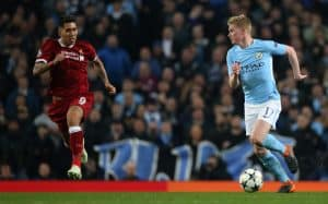 Kevin De Bruyne during the Champions League quarter final match between Manchester City and Liverpool at the Etihad Stadium on April 10, 2018