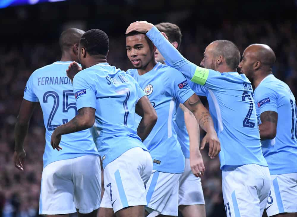 City players celebrate a goal during the UEFA Champions League Group F game between Manchester City and SSC Napoli at City of Manchester Stadium.