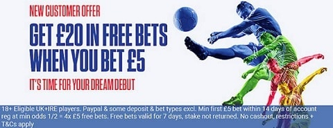 Coral Bet £5 get £20 - Sign up offer